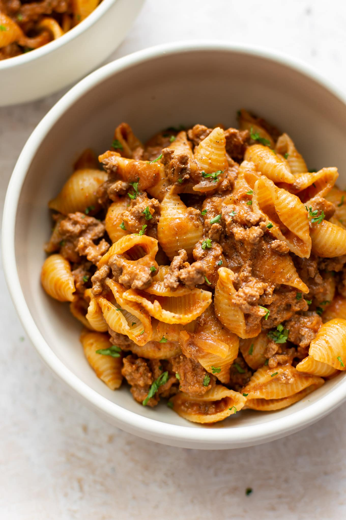 The Best Creamy Beef and Shells