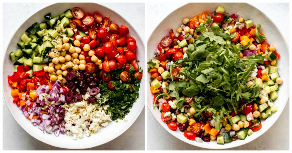 Greek Chickpea Salad with Arugula