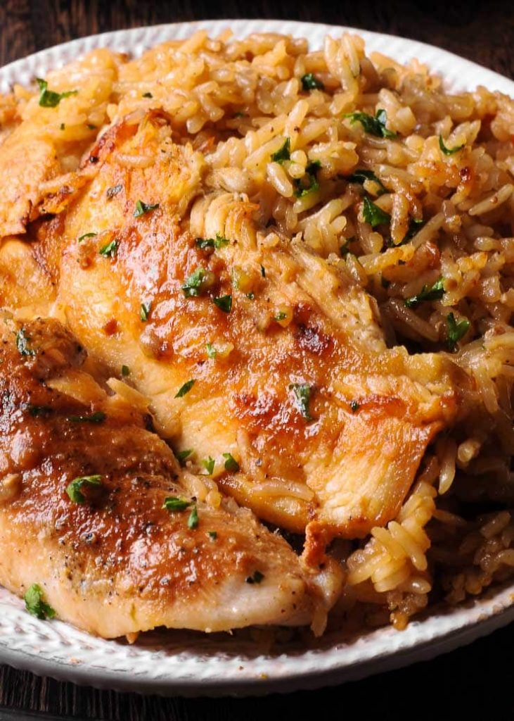 Chicken with Garlic Parmesan Rice