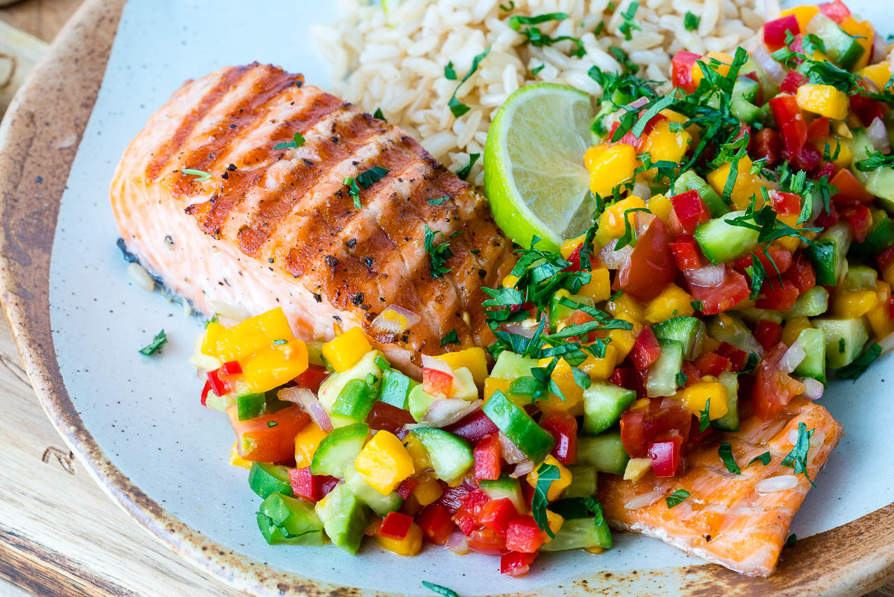Grilled Lime Salmon with Avocado-Mango Salsa